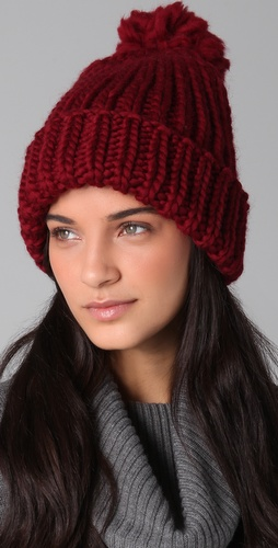 Eugenia Kim Rain Chunky Cuffed Pom Hat