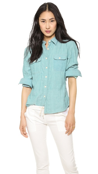 Faherty Belmar Workshirt - Chambray Green Plaid Doublefac at Shopbop / East Dane