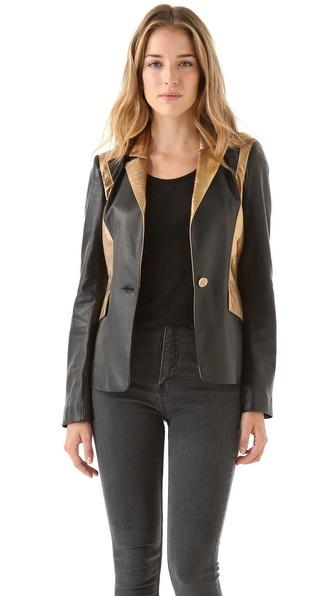 Faith Connexion Crackle Leather Blazer