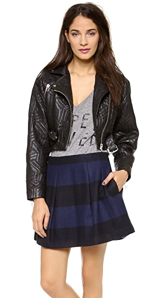 Faith Connexion Perfecto Embossed Leather Jacket