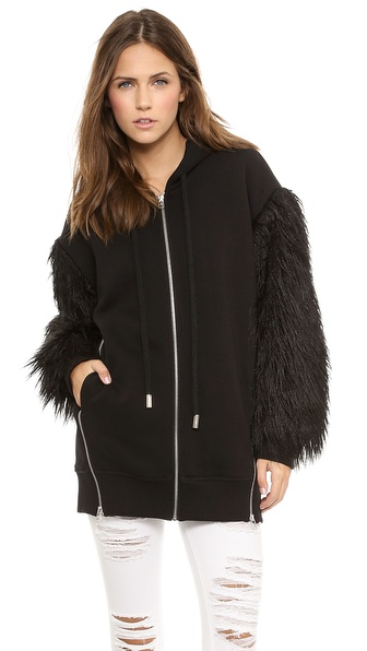 Faith Connexion Mixed Fur Fleece Sweatshirt