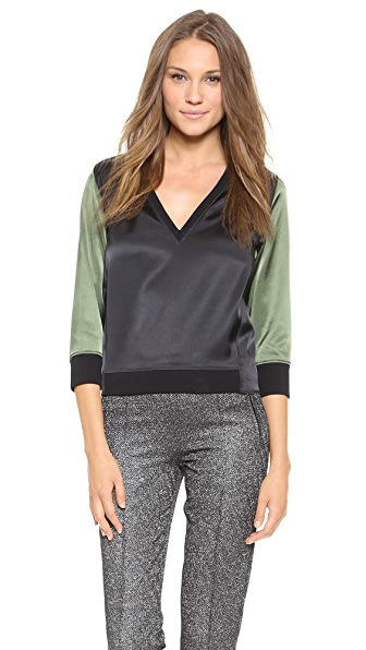 Faith Connexion Bicolor Satin Pullover