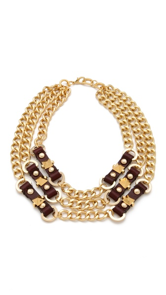 Fallon Jewelry Leather Stud Bib Necklace