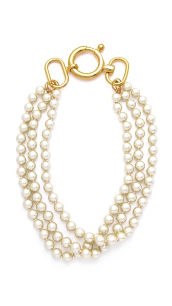 Fallon Jewelry Classique Triple Gold Pearl Necklace