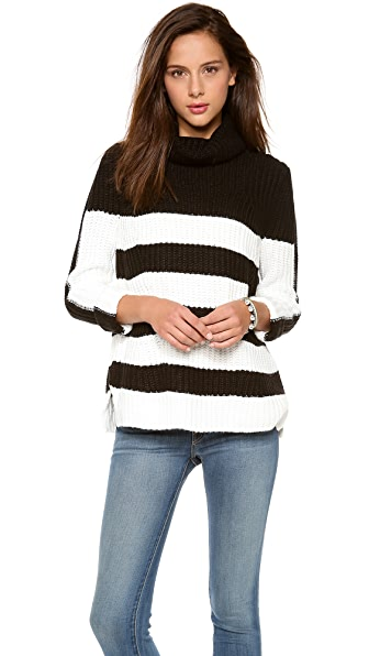 525 America Stripe Turtleneck Tunic Sweater
