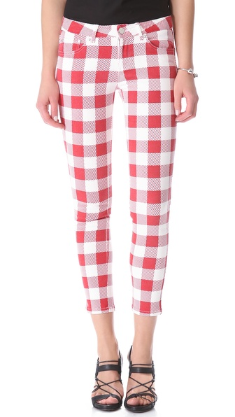 Friends & Associates Gingham Jeans