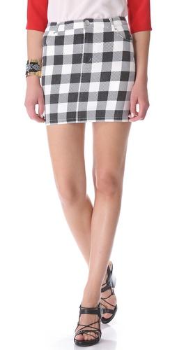 Friends & Associates Gingham Denim Skirt