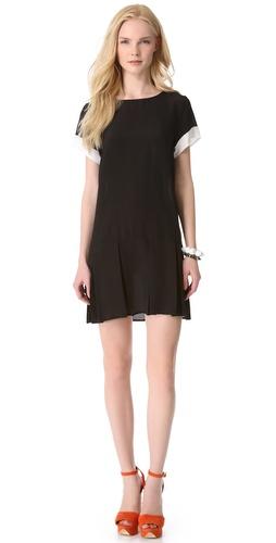 Friends & Associates Pleated Silk Dress