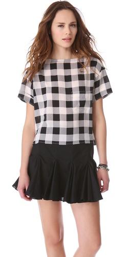Friends & Associates Gingham Silk T-Shirt