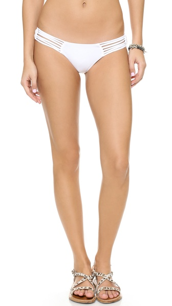 Shop Frankie's Bikinis online and buy Frankie'S Bikinis Willow Bikini Bottoms White - Slim bikini bottoms gain subtle texture from bold waist straps. Lined. 91% nylon/9% spandex. Hand wash. Made in the USA. Available sizes: L,M,S