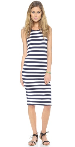Shop Feel The Piece online and buy Feel The Piece Striped Ella Dress - A figure-hugging Feel The Piece dress, cut from striped jersey. A long side slit reveals a peek of skin, and banding trims the scoop neckline and racer back. Unlined.  Fabric: Jersey. 94% rayon/6% spandex. Wash cold. Made in the USA.  MEASUREMENTS Length: 40in / 101.5cm, from shoulder - Navy/White Stripe