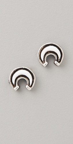 FELIKS+ADRIK Enamel Crescent Stud Earrings