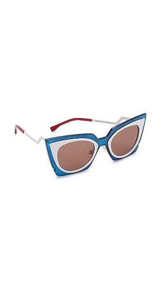 Fendi Bold Statement Sunglasses - Turquoise White/Dark Brown