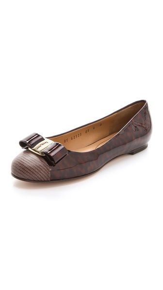 Salvatore Ferragamo Varina Patent Bow Flats