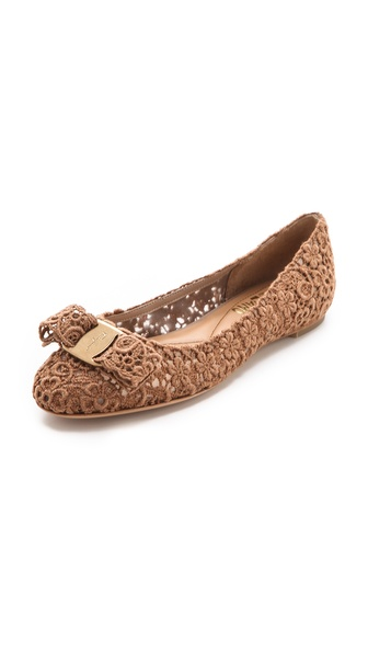 Salvatore Ferragamo Bombay Lace Ballet Flats