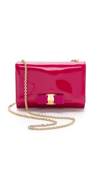 Salvatore Ferragamo Miss Vara Bow Patent Shoulder Bag