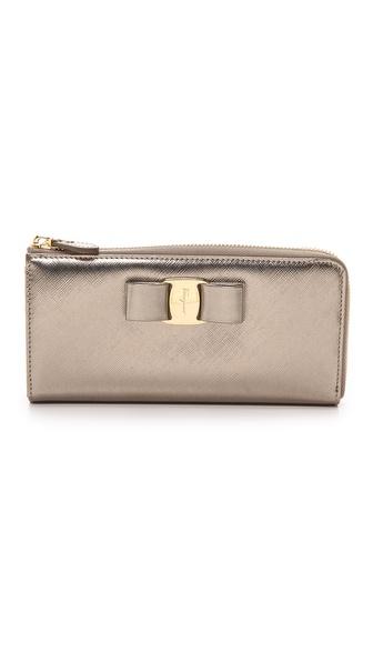 Salvatore Ferragamo Miss Vara Bow Zip Continental Wallet