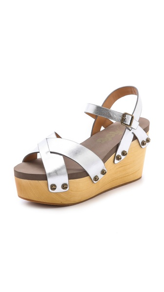 Flogg Piper Wedge Sandals - Silver