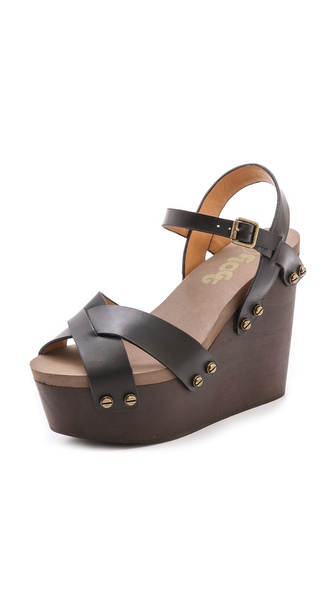 Flogg Liliana Wedge Sandals - Black