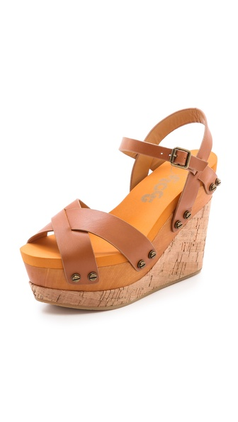 Flogg Lexi Cork Wedge Sandals - Luggage