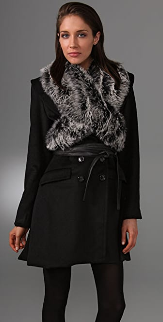 Foley + Corinna Wool Coat with Faux Fur Wrap