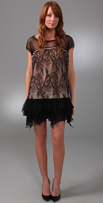 Foley + Corinna Ruffle Lace Dress