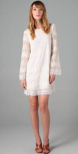 Foley + Corinna Bardot Embroidered Dress