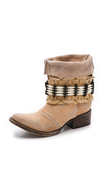 Freebird By Steven Barracuda Embellished Booties - Natural