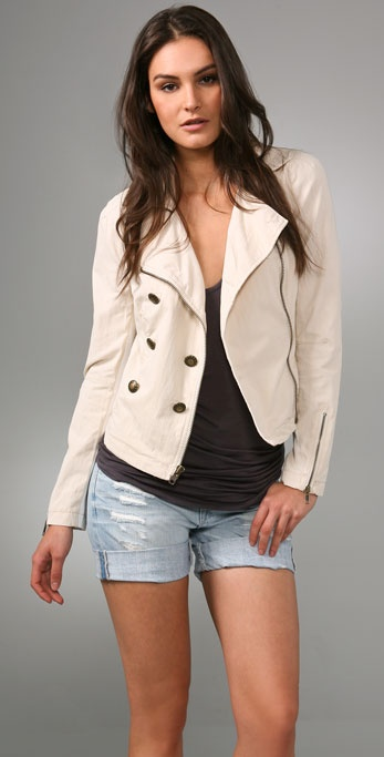 Free People Herringbone Moto Zip Jacket