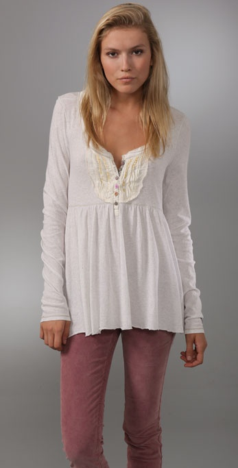 Free People Boho Pintuck Henley