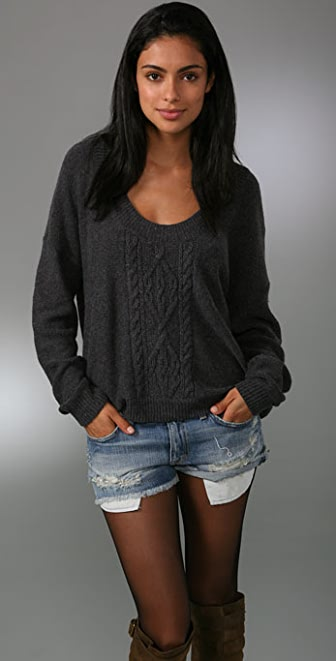 Free People Cable Tree Pullover Sweater