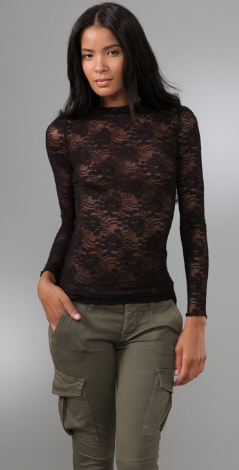 Free People Lace Mock Neck Top