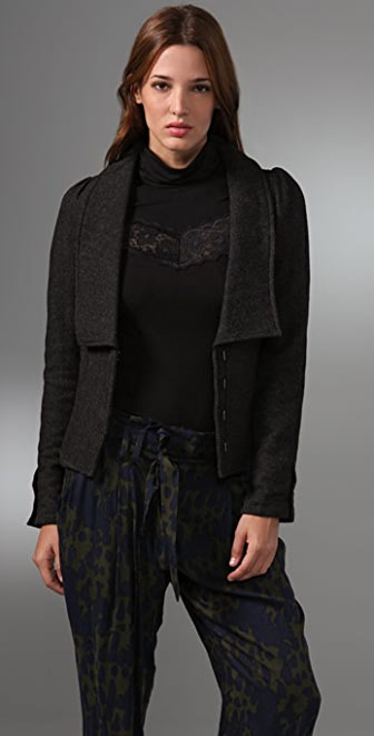 Free People Herringbone Puff Sleeve Jacket