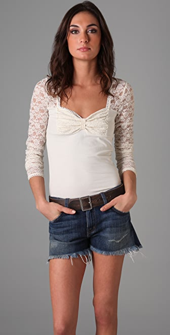 Free People Super Sweet Bow Top