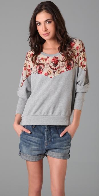 Free People Lace Peek-a-Boo Sweatshirt
