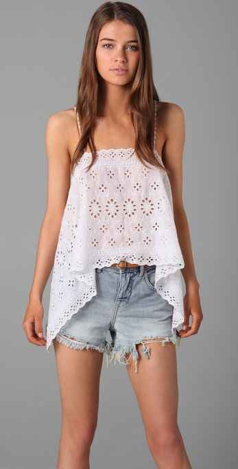 Free People New Romantics Eyelet Camisole