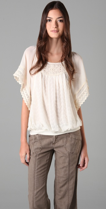 Free People Georgette Eyelet Top