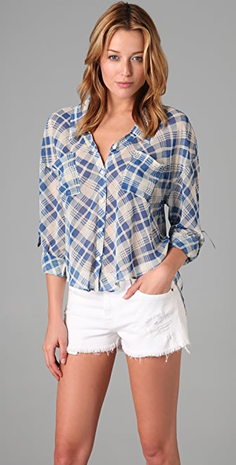 Free People Easy Rider Button Down Shirt