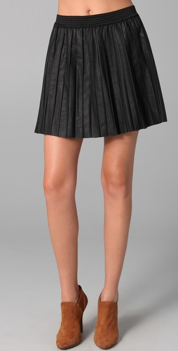Free People Vegan Leather Pleated Skirt