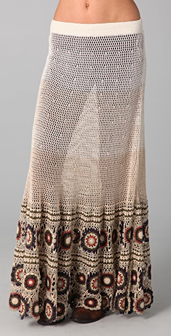 Free People Crochet Maxi Skirt