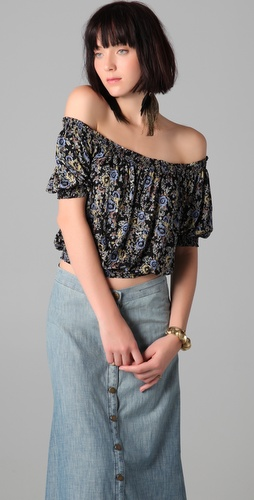 Free People Printed Gypsy Crop Top