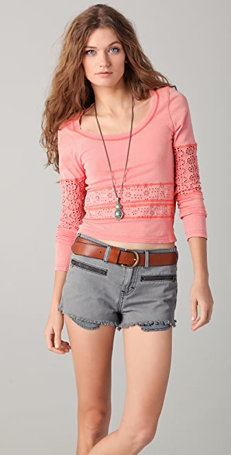 Free People Neon Lights Girlie Greaser Crop Top