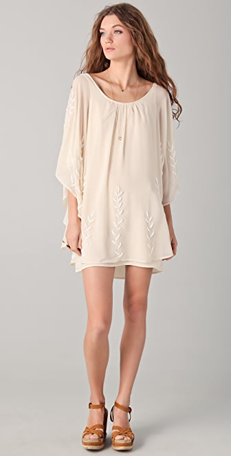 Free People Border Embellished Cape Dress