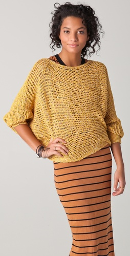 Free People Horizontal Sunday Smile Pullover