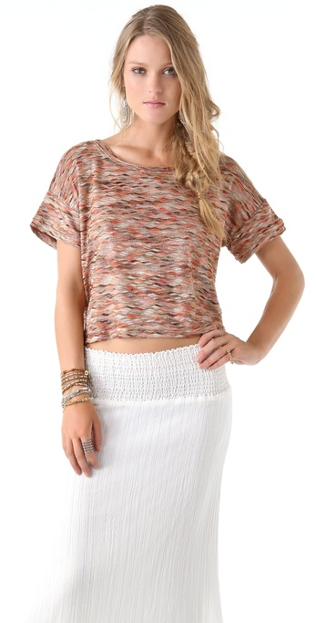 Free People Rainbow Wave Boxy Top