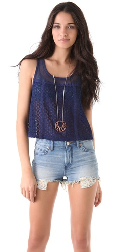 Free People Novelty Lace Swing Top