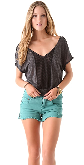 Free People Printed Ruffle Edge Top