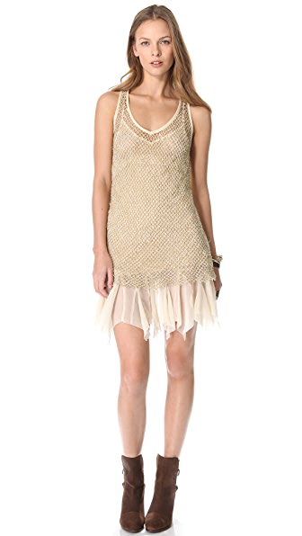 Free People Sequin Fishnet Slip Dress
