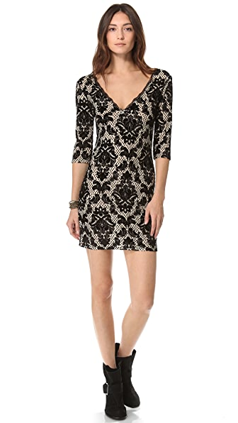 Free People Flocked Medallion Velvet Dress