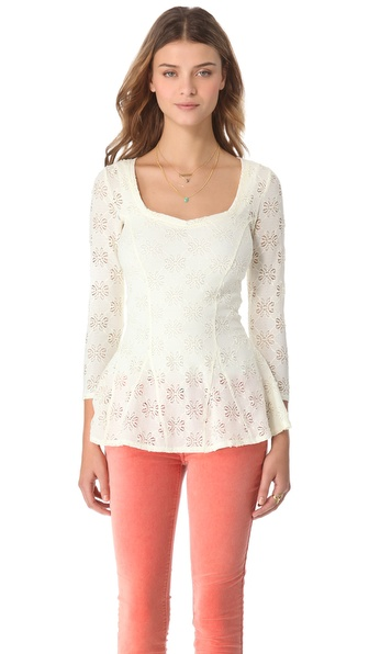 Free People Daisy Lace Godet Top